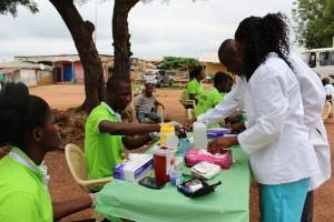 Mrs Ankamah orienting health workers